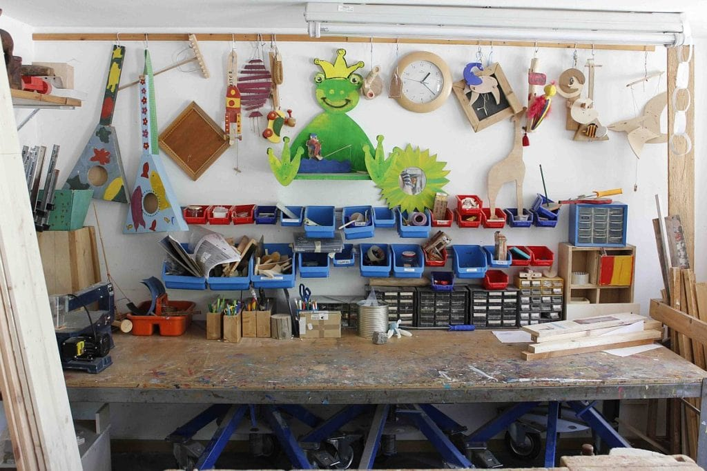 Werkzeugregal in der Holzwerkstatt