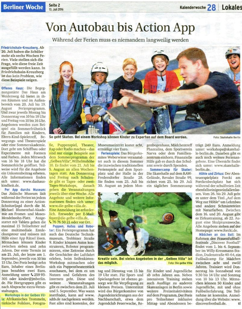 Während der Ferien 2016 - Beitrag in der Berliner Woche